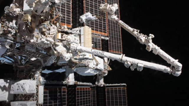 Timelapse of spacewalk to install a solar array for the International Space Station