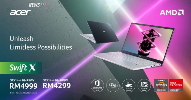 Acer Swift X AMD launched in Malaysia: Equipped with up to a Ryzen 7 5800U CPU and RTX 3050 Ti